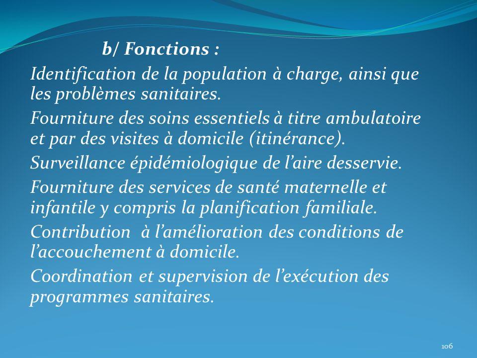 b/ Fonctions : Identification de la population à charge, ainsi que les problèmes sanitaires. Fourniture des soins essentiels à titre ambulatoire et pa