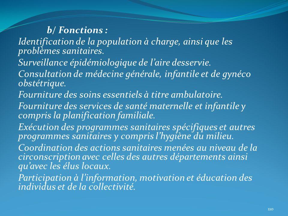 b/ Fonctions : Identification de la population à charge, ainsi que les problèmes sanitaires. Surveillance épidémiologique de laire desservie. Consulta