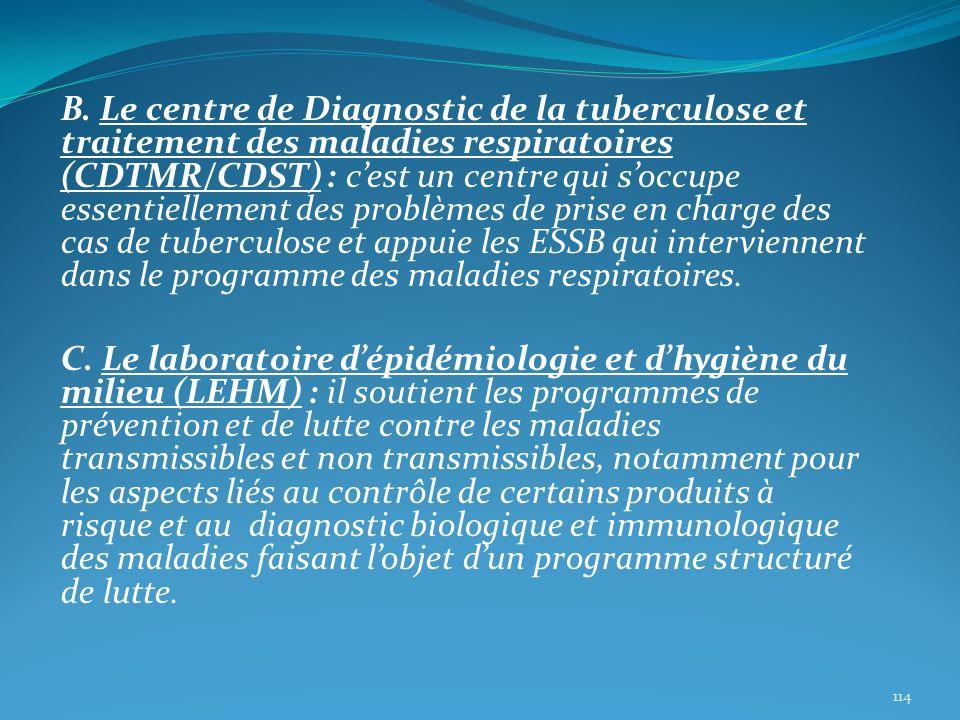B. Le centre de Diagnostic de la tuberculose et traitement des maladies respiratoires (CDTMR/CDST) : cest un centre qui soccupe essentiellement des pr
