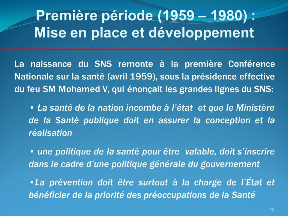 Première période (1959 – 1980) : Mise en place et développement La naissance du SNS remonte à la première Conférence Nationale sur la santé (avril 195