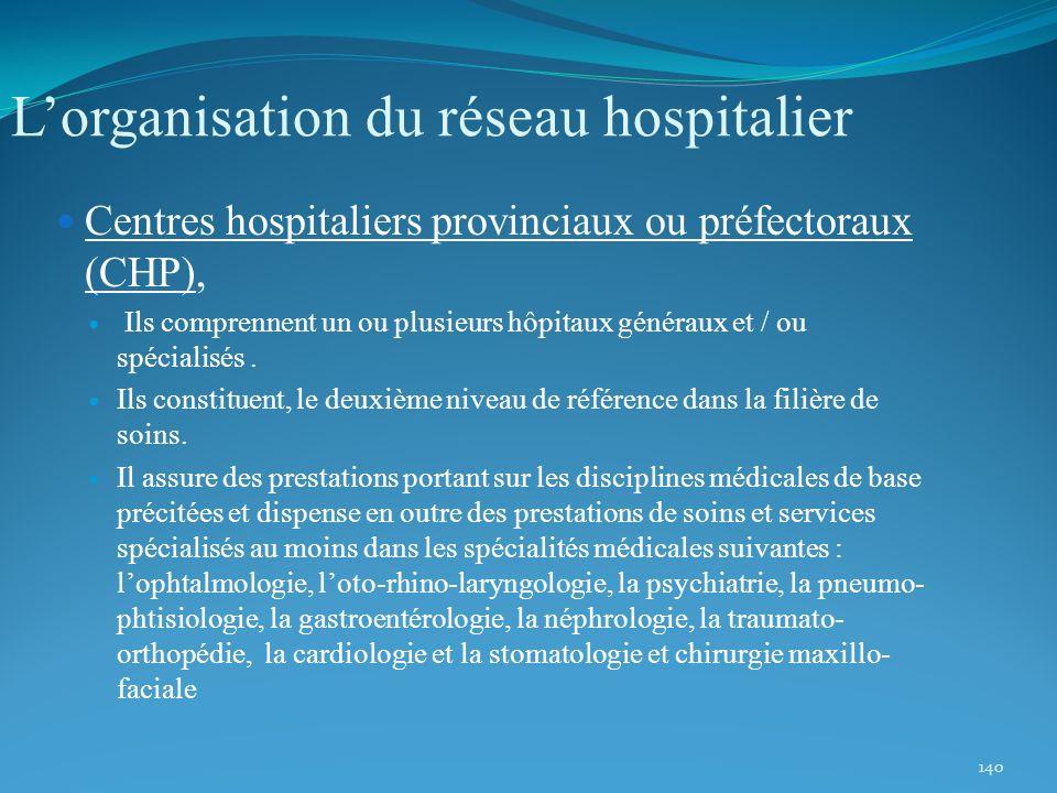 140 Lorganisation du réseau hospitalier Centres hospitaliers provinciaux ou préfectoraux (CHP), Ils comprennent un ou plusieurs hôpitaux généraux et /