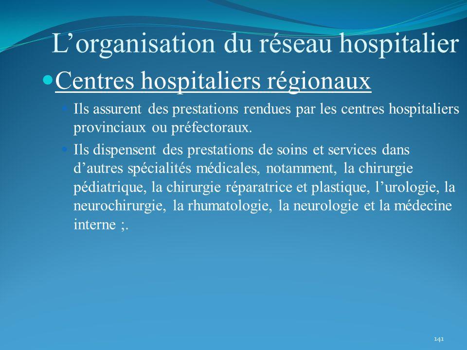 141 Centres hospitaliers régionaux Ils assurent des prestations rendues par les centres hospitaliers provinciaux ou préfectoraux. Ils dispensent des p
