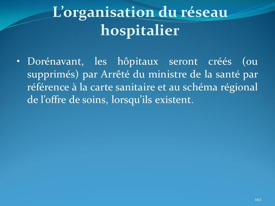 Dorénavant, les hôpitaux seront créés (ou supprimés) par Arrêté du ministre de la santé par référence à la carte sanitaire et au schéma régional de lo