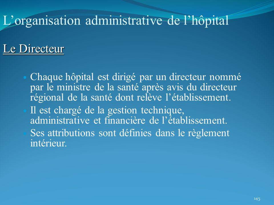 145 Lorganisation administrative de lhôpital Le Directeur Chaque hôpital est dirigé par un directeur nommé par le ministre de la santé après avis du d