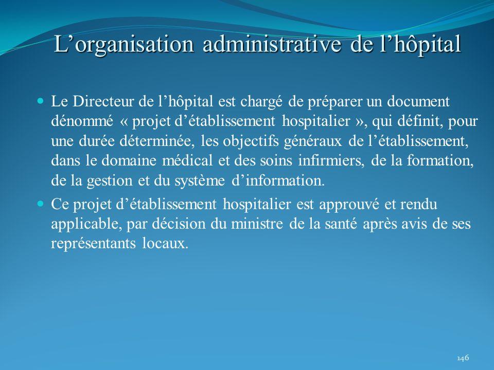 146 Lorganisation administrative de lhôpital Le Directeur de lhôpital est chargé de préparer un document dénommé « projet détablissement hospitalier »