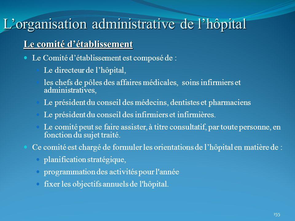 155 Lorganisation administrative de lhôpital Le comité détablissement Le Comité détablissement est composé de : Le directeur de lhôpital, les chefs de