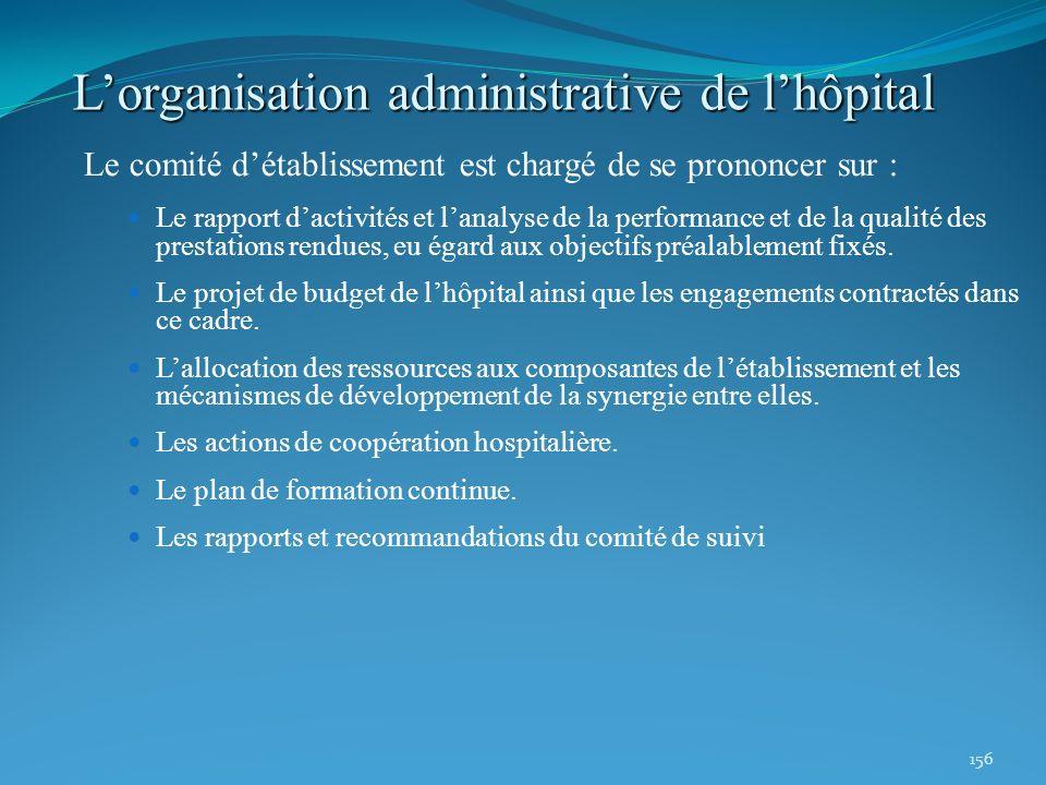 156 Lorganisation administrative de lhôpital Le comité détablissement est chargé de se prononcer sur : Le rapport dactivités et lanalyse de la perform