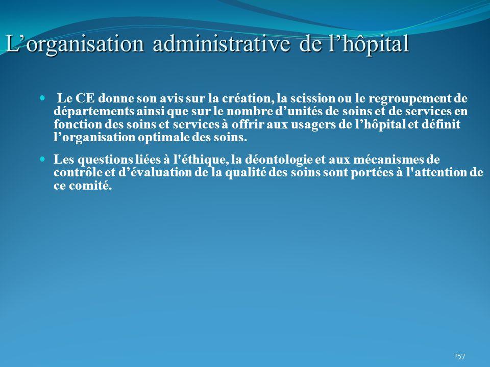 157 Lorganisation administrative de lhôpital Le CE donne son avis sur la création, la scission ou le regroupement de départements ainsi que sur le nom