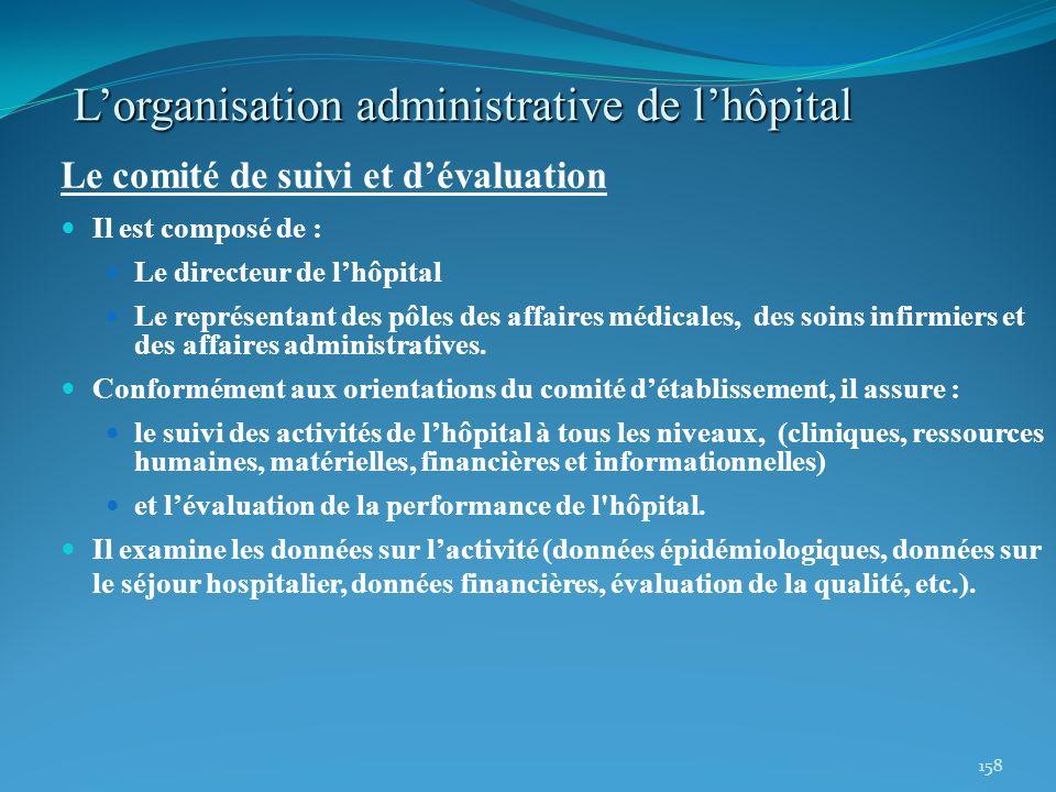 158 Lorganisation administrative de lhôpital Le comité de suivi et dévaluation Il est composé de : Le directeur de lhôpital Le représentant des pôles