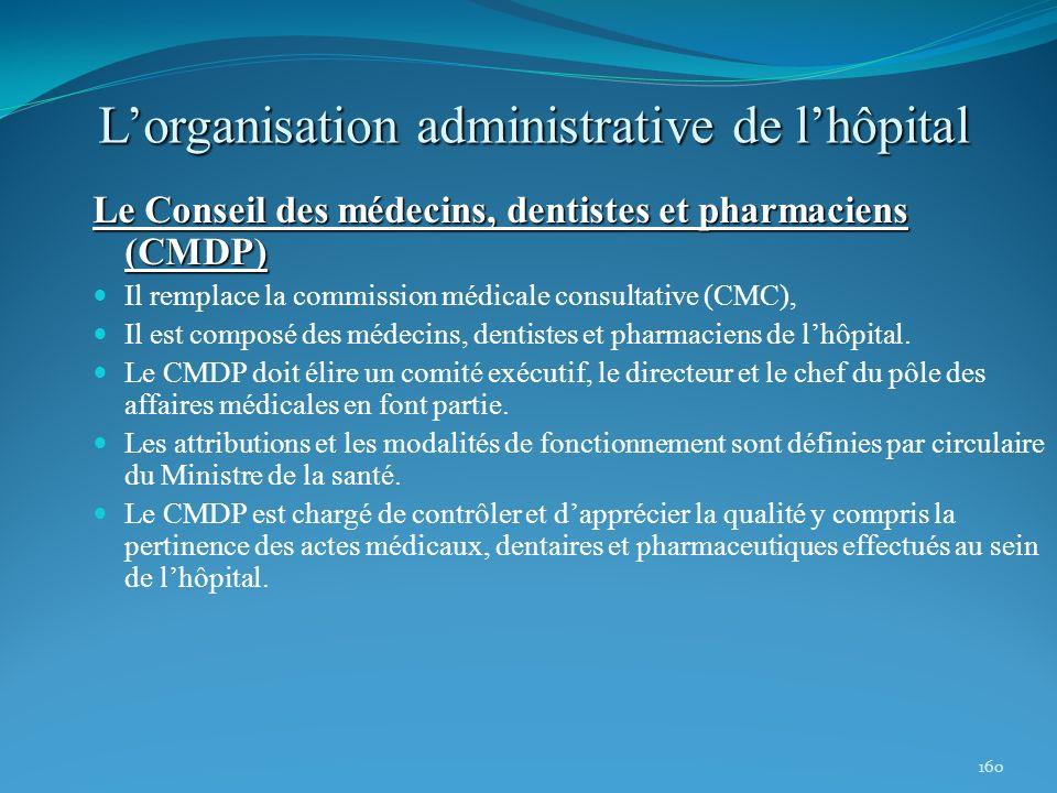 160 Lorganisation administrative de lhôpital Le Conseil des médecins, dentistes et pharmaciens (CMDP) Il remplace la commission médicale consultative