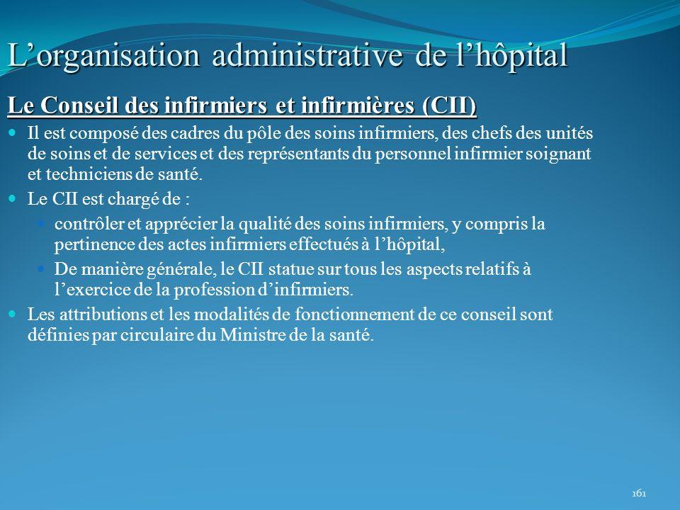 161 Lorganisation administrative de lhôpital Le Conseil des infirmiers et infirmières (CII) Il est composé des cadres du pôle des soins infirmiers, de