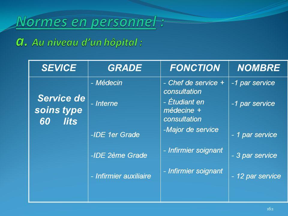 SEVICEGRADEFONCTIONNOMBRE Service de soins type 60 lits - Médecin - Interne -IDE 1er Grade -IDE 2ème Grade - Infirmier auxiliaire - Chef de service +