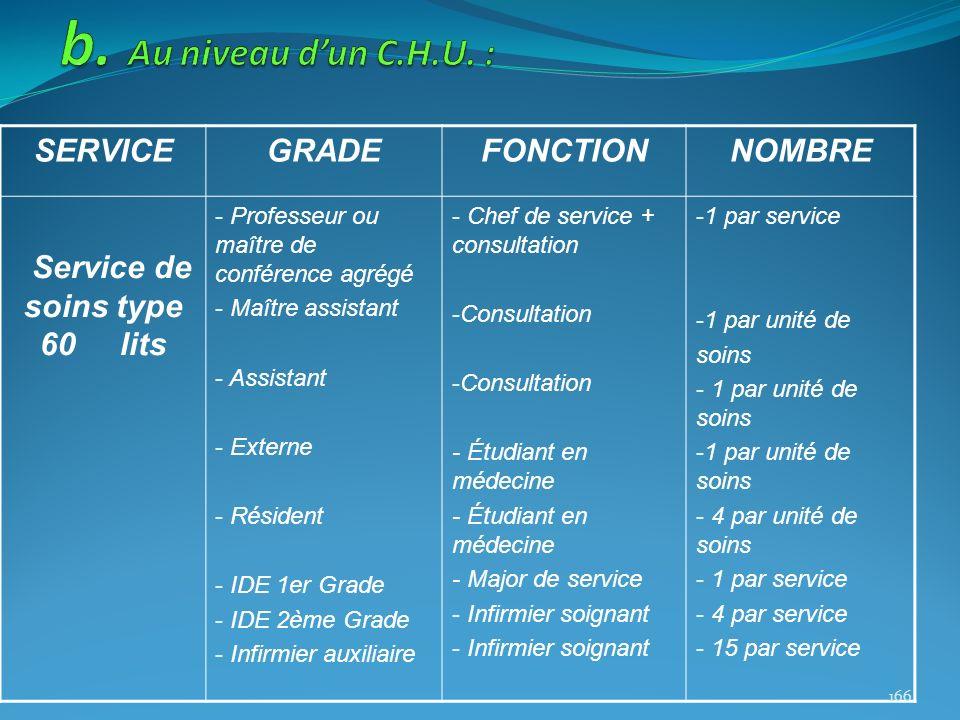 SERVICEGRADEFONCTIONNOMBRE Service de soins type 60 lits - Professeur ou maître de conférence agrégé - Maître assistant - Assistant - Externe - Réside