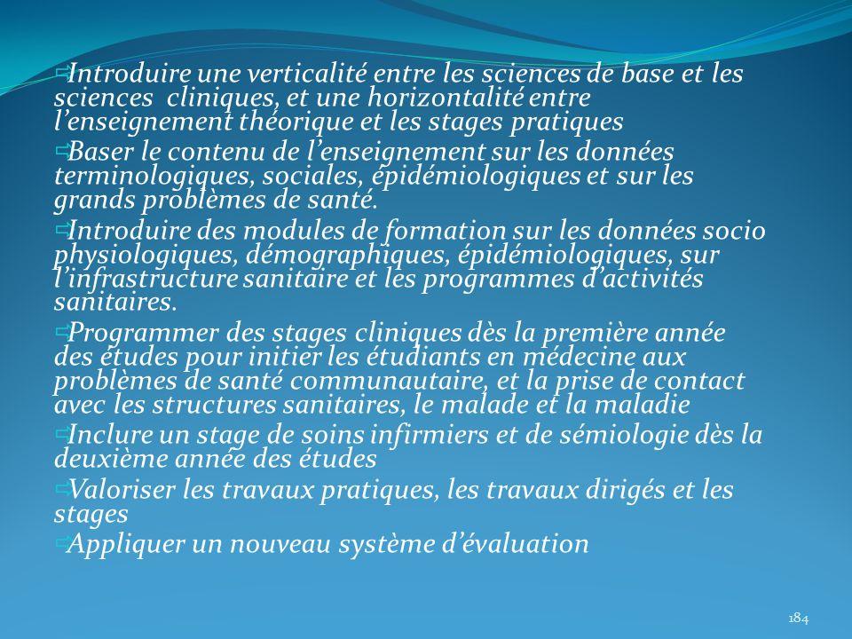 Introduire une verticalité entre les sciences de base et les sciences cliniques, et une horizontalité entre lenseignement théorique et les stages prat