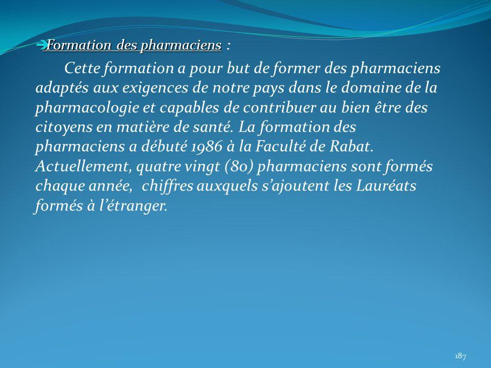 Formation des pharmaciens Formation des pharmaciens : Cette formation a pour but de former des pharmaciens adaptés aux exigences de notre pays dans le