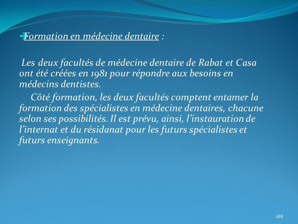 Formation en médecine dentaire : Les deux facultés de médecine dentaire de Rabat et Casa ont été créées en 1981 pour répondre aux besoins en médecins