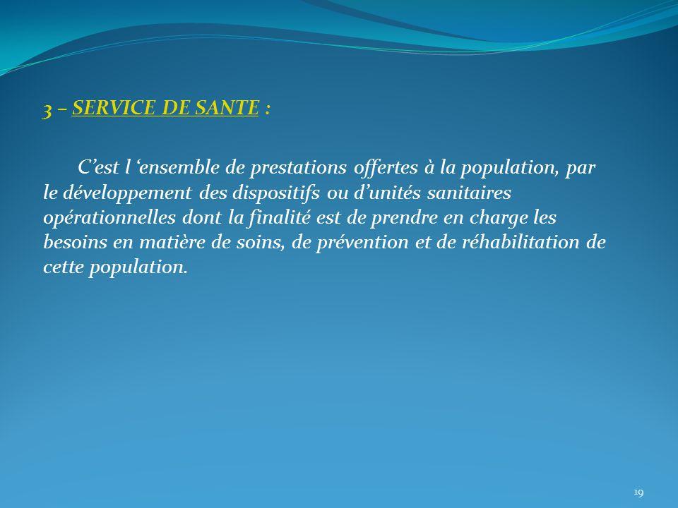 3 – SERVICE DE SANTE : Cest l ensemble de prestations offertes à la population, par le développement des dispositifs ou dunités sanitaires opérationne