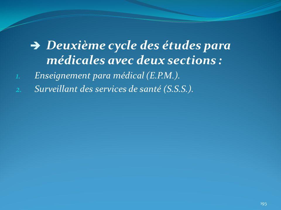 Deuxième cycle des études para médicales avec deux sections : 1. Enseignement para médical (E.P.M.). 2. Surveillant des services de santé (S.S.S.). 19