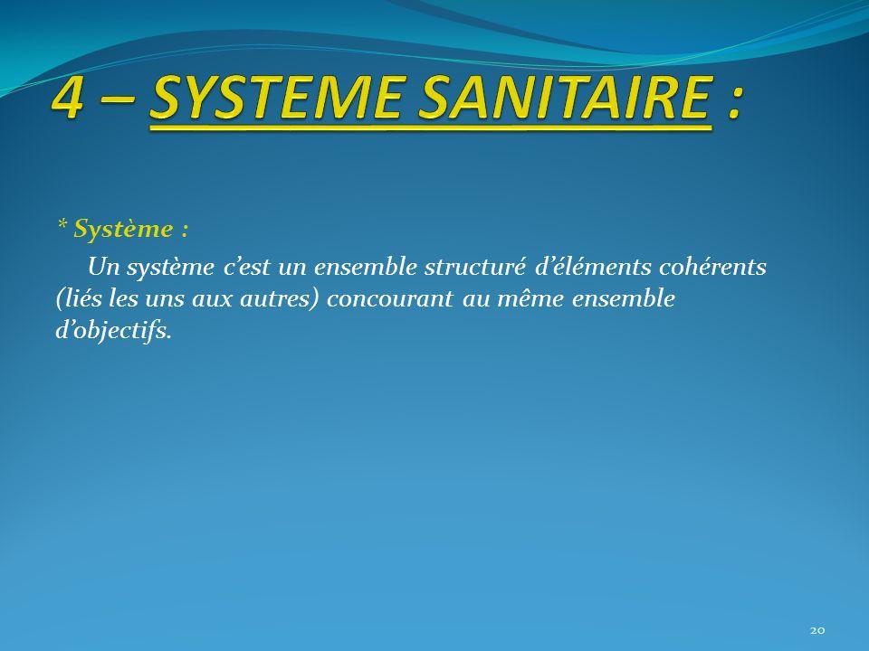 * Système : Un système cest un ensemble structuré déléments cohérents (liés les uns aux autres) concourant au même ensemble dobjectifs. 20