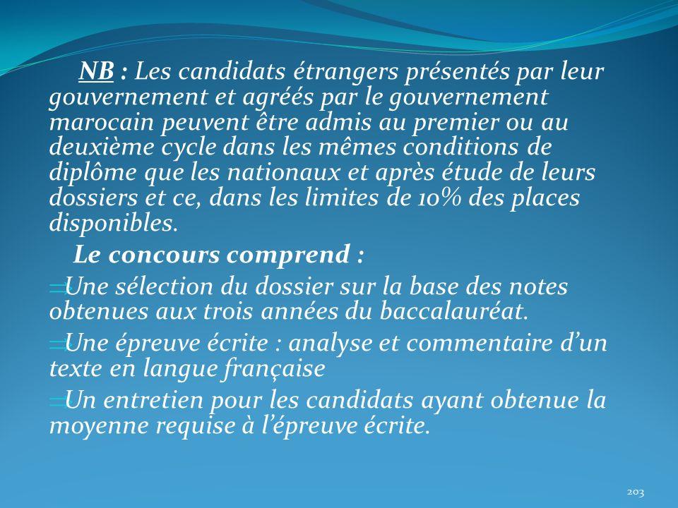 NB : Les candidats étrangers présentés par leur gouvernement et agréés par le gouvernement marocain peuvent être admis au premier ou au deuxième cycle