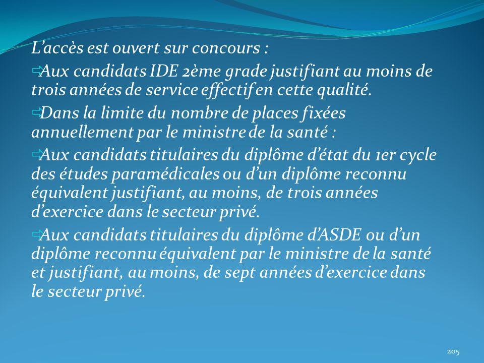 Laccès est ouvert sur concours : Aux candidats IDE 2ème grade justifiant au moins de trois années de service effectif en cette qualité. Dans la limite