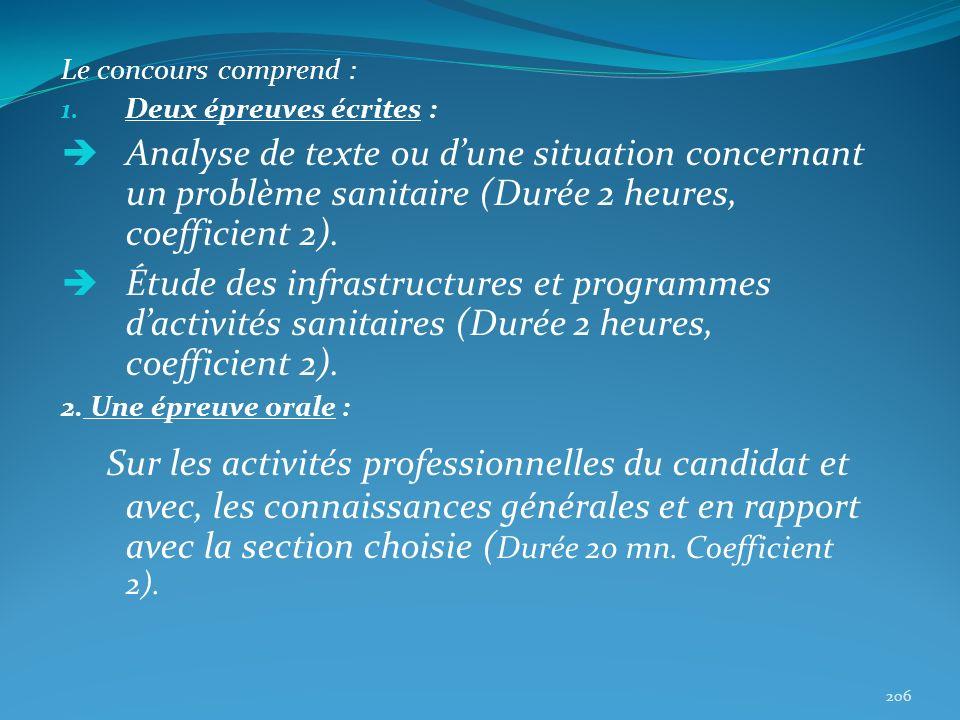 Le concours comprend : 1. Deux épreuves écrites : Analyse de texte ou dune situation concernant un problème sanitaire (Durée 2 heures, coefficient 2).