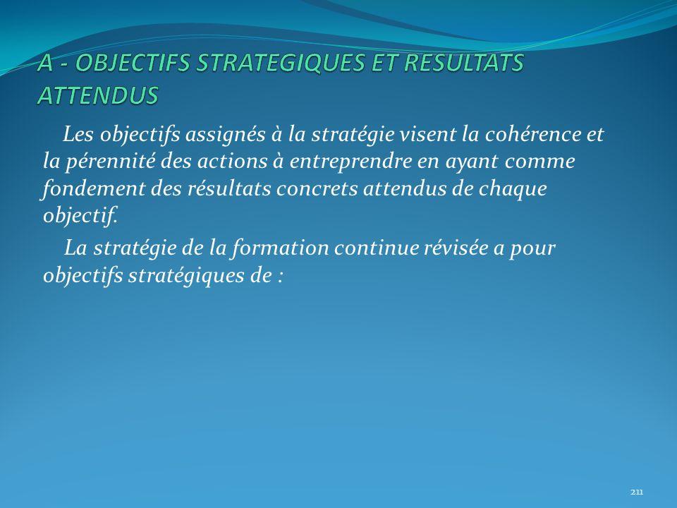 Les objectifs assignés à la stratégie visent la cohérence et la pérennité des actions à entreprendre en ayant comme fondement des résultats concrets a