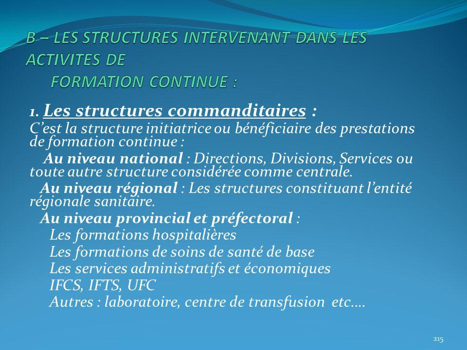 1. Les structures commanditaires : Cest la structure initiatrice ou bénéficiaire des prestations de formation continue : Au niveau national : Directio