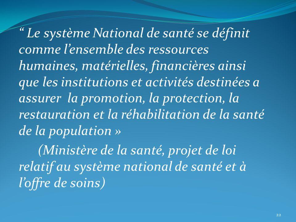 Le système National de santé se définit comme lensemble des ressources humaines, matérielles, financières ainsi que les institutions et activités dest