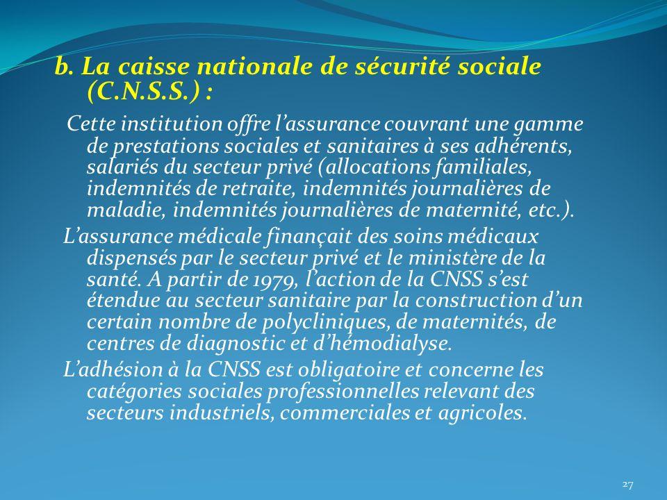 b. La caisse nationale de sécurité sociale (C.N.S.S.) : Cette institution offre lassurance couvrant une gamme de prestations sociales et sanitaires à