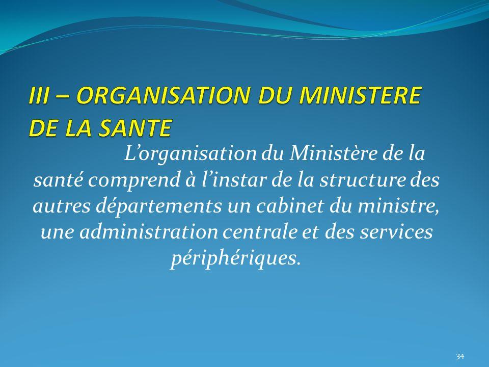 Lorganisation du Ministère de la santé comprend à linstar de la structure des autres départements un cabinet du ministre, une administration centrale