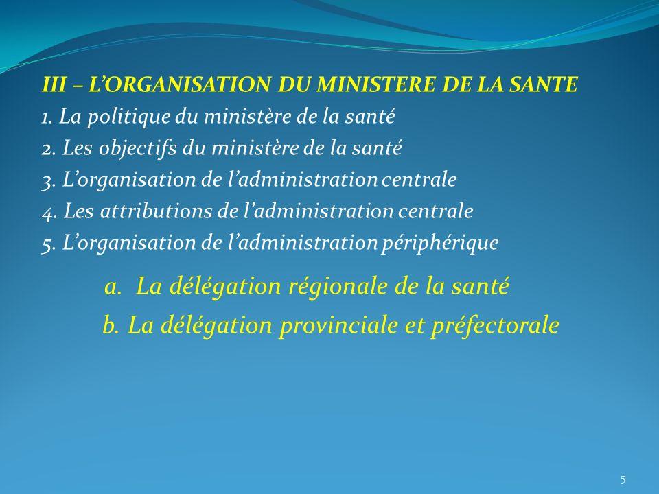 III – LORGANISATION DU MINISTERE DE LA SANTE 1. La politique du ministère de la santé 2. Les objectifs du ministère de la santé 3. Lorganisation de la