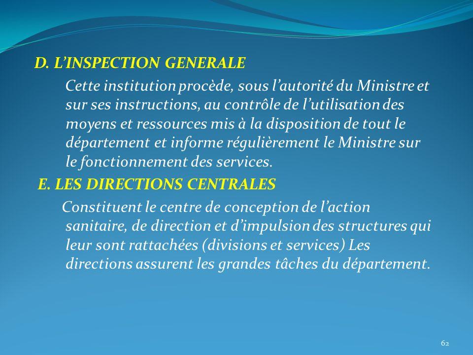 D. LINSPECTION GENERALE Cette institution procède, sous lautorité du Ministre et sur ses instructions, au contrôle de lutilisation des moyens et resso