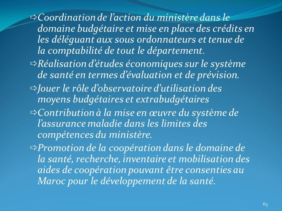 Coordination de laction du ministère dans le domaine budgétaire et mise en place des crédits en les déléguant aux sous ordonnateurs et tenue de la com