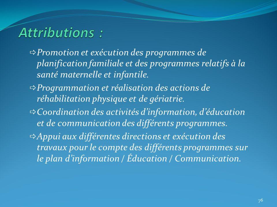 Promotion et exécution des programmes de planification familiale et des programmes relatifs à la santé maternelle et infantile. Programmation et réali