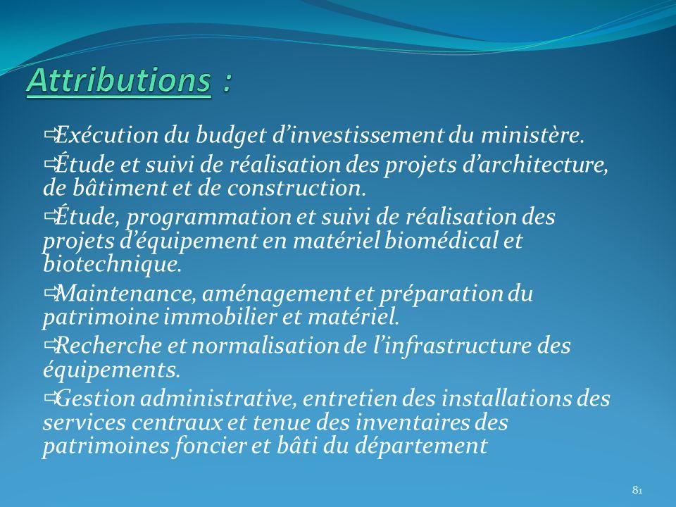 Exécution du budget dinvestissement du ministère. Étude et suivi de réalisation des projets darchitecture, de bâtiment et de construction. Étude, prog