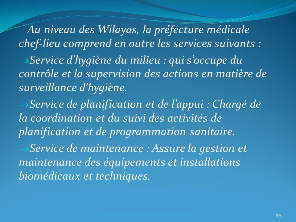 Au niveau des Wilayas, la préfecture médicale chef-lieu comprend en outre les services suivants : Service dhygiène du milieu : qui soccupe du contrôle