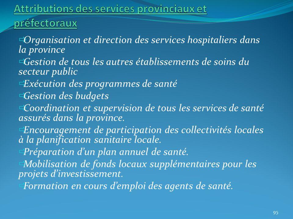 Organisation et direction des services hospitaliers dans la province Gestion de tous les autres établissements de soins du secteur public Exécution de