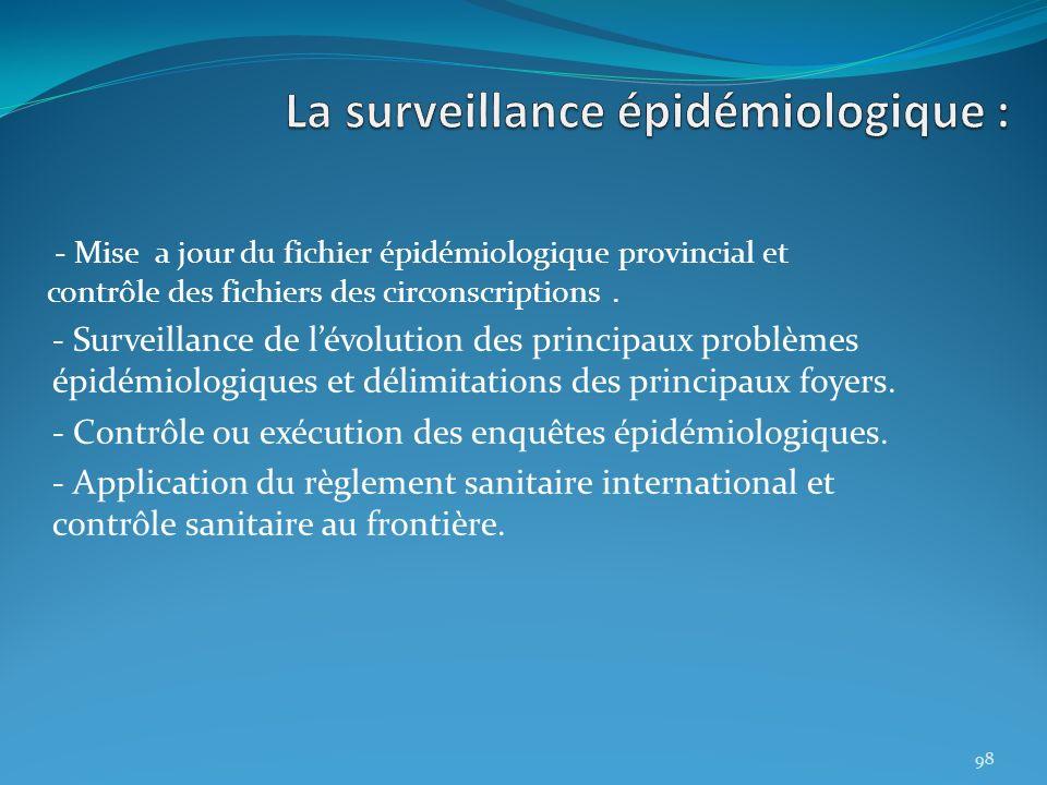 - Mise a jour du fichier épidémiologique provincial et contrôle des fichiers des circonscriptions. - Surveillance de lévolution des principaux problèm