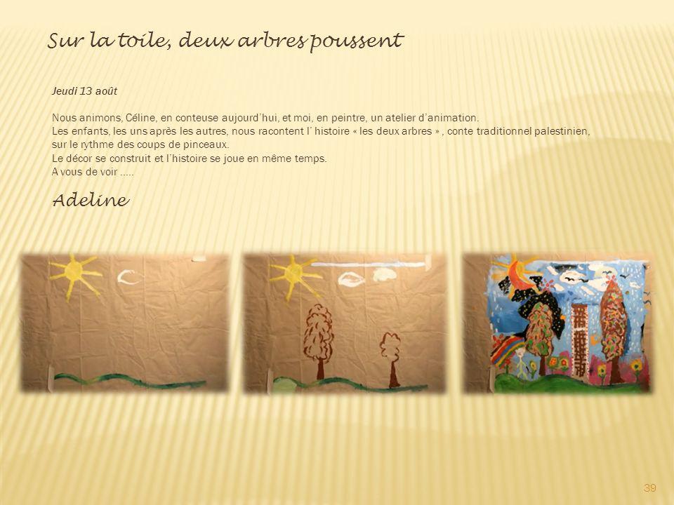 Jeudi 13 août Nous animons, Céline, en conteuse aujourdhui, et moi, en peintre, un atelier danimation.
