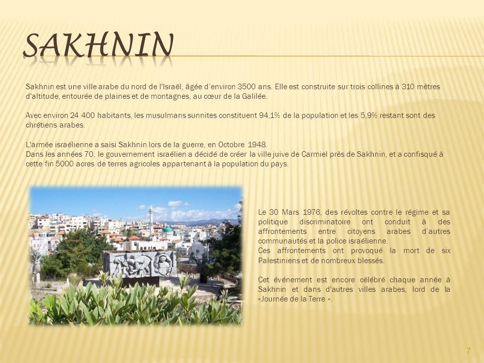 7 Sakhnin est une ville arabe du nord de l Israël, âgée denviron 3500 ans.