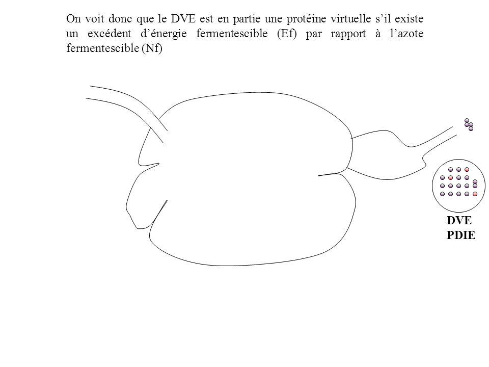 DVE PDIE On voit donc que le DVE est en partie une protéine virtuelle sil existe un excédent dénergie fermentescible (Ef) par rapport à lazote fermentescible (Nf)