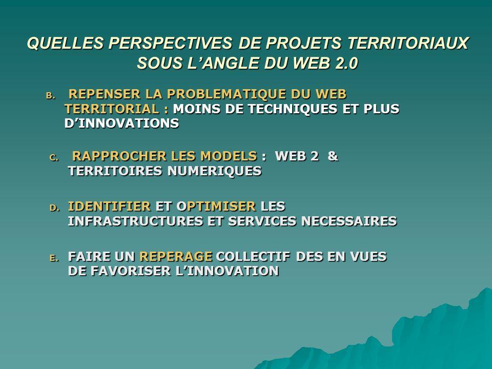 QUELLES PERSPECTIVES DE PROJETS TERRITORIAUX SOUS LANGLE DU WEB 2.0 B.