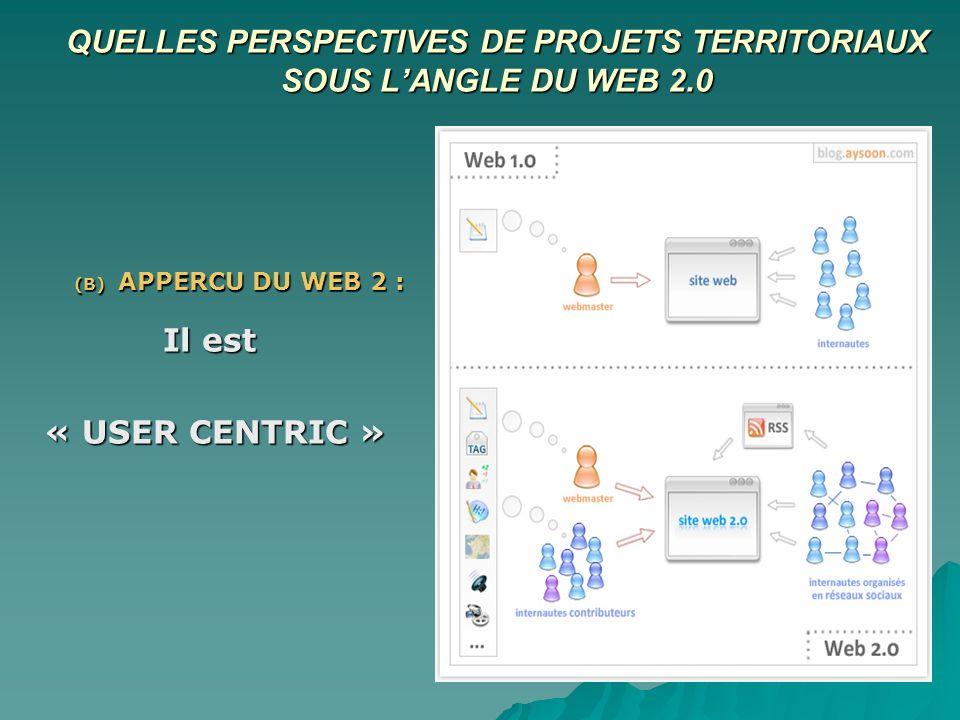 QUELLES PERSPECTIVES DE PROJETS TERRITORIAUX SOUS LANGLE DU WEB 2.0 (B) APPERCU DU WEB 2 : Il est « USER CENTRIC »