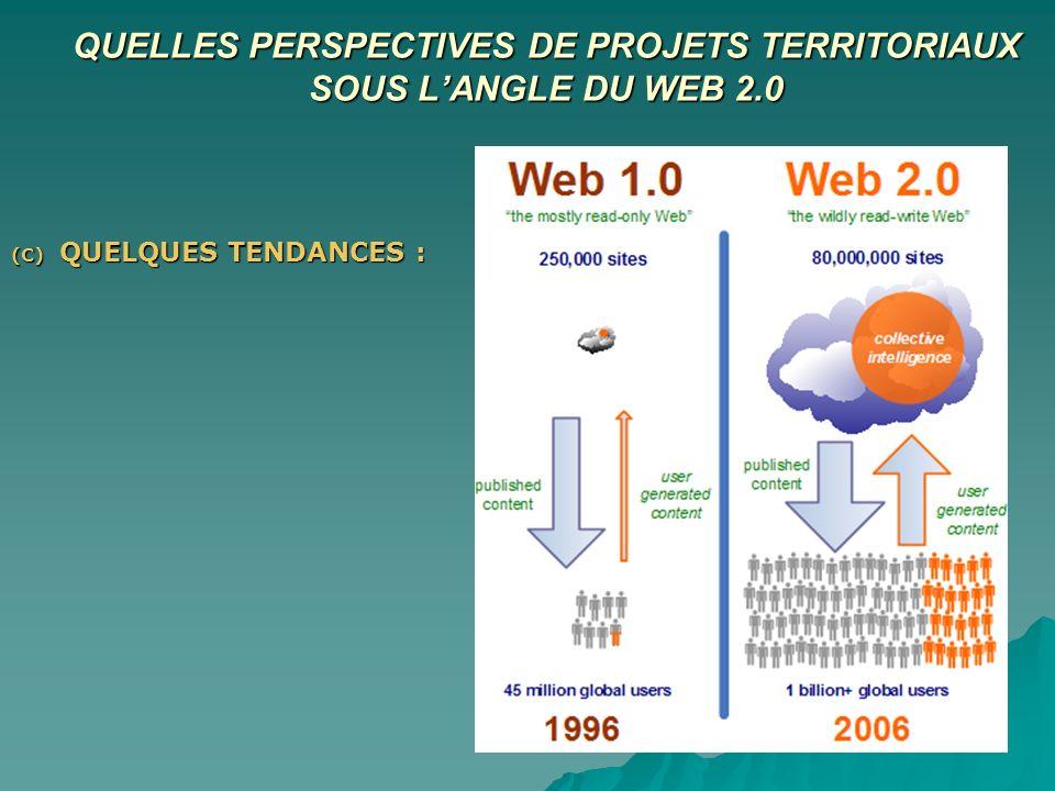 QUELLES PERSPECTIVES DE PROJETS TERRITORIAUX SOUS LANGLE DU WEB 2.0 (C) QUELQUES TENDANCES :