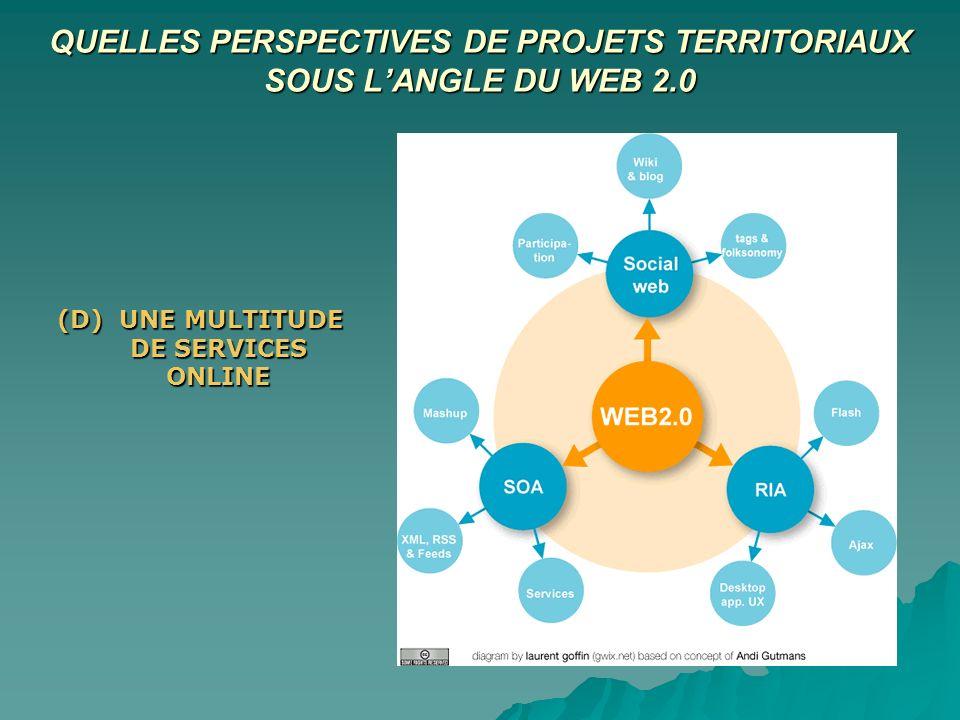 QUELLES PERSPECTIVES DE PROJETS TERRITORIAUX SOUS LANGLE DU WEB 2.0 (D) UNE MULTITUDE DE SERVICES ONLINE