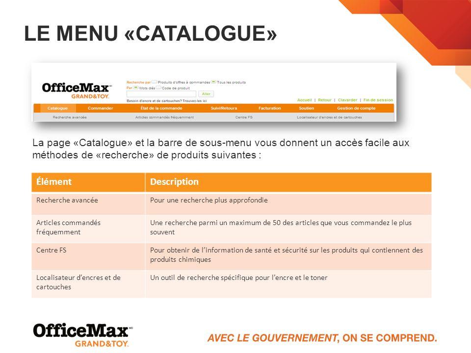 LE MENU «CATALOGUE» La page «Catalogue» et la barre de sous-menu vous donnent un accès facile aux méthodes de «recherche» de produits suivantes : Élém