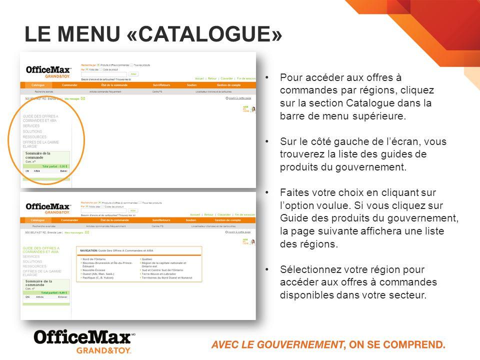 LE MENU «CATALOGUE» Pour accéder aux offres à commandes par régions, cliquez sur la section Catalogue dans la barre de menu supérieure. Sur le côté ga