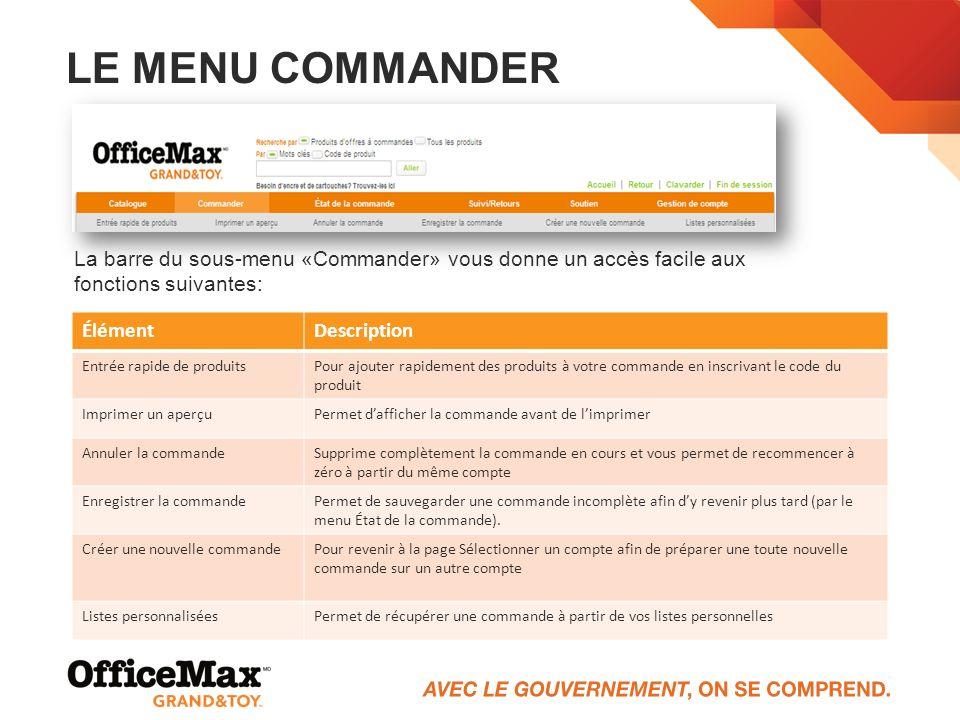 LE MENU COMMANDER La barre du sous-menu «Commander» vous donne un accès facile aux fonctions suivantes: ÉlémentDescription Entrée rapide de produitsPo