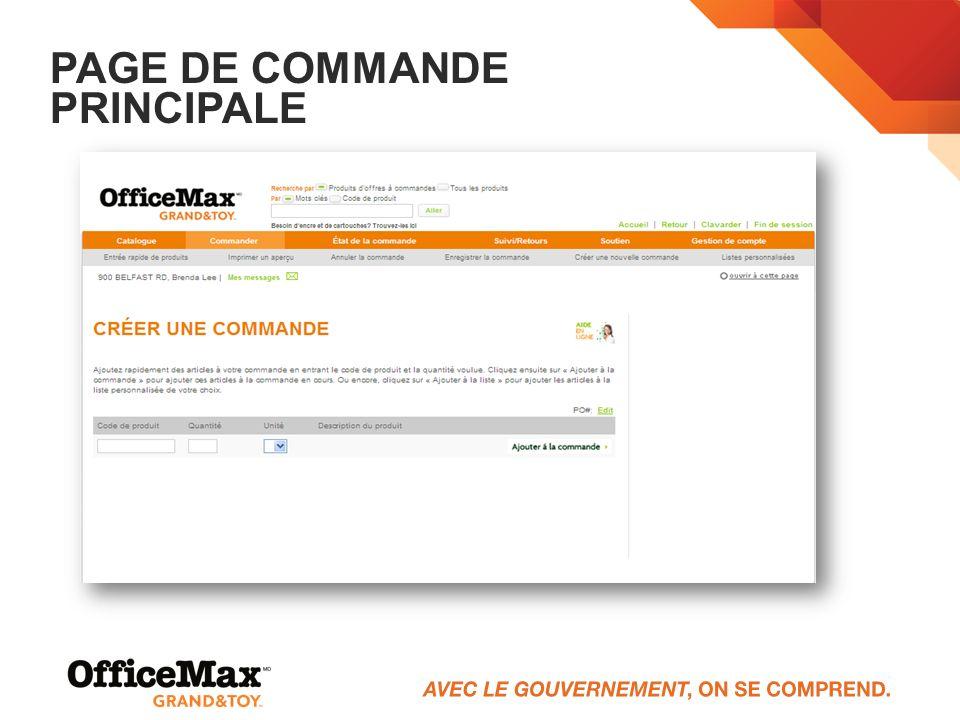 PAGE DE COMMANDE PRINCIPALE
